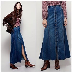 NEW Free People Penelope Denim Maxi Skirt Buttons